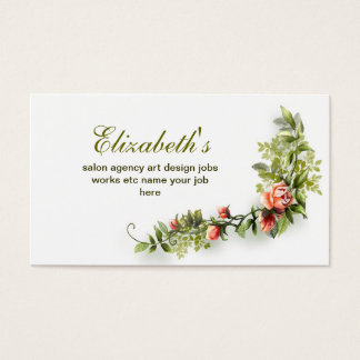 elegant vintage floral pink white business card