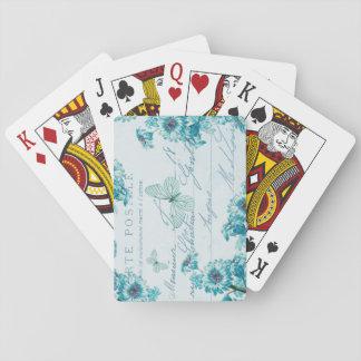 Elegant vintage floral playing cards in blue