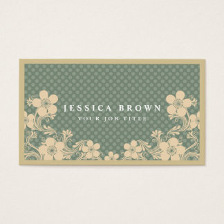 Elegant Vintage Floral & polka dots Business Card