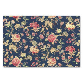 """Elegant Vintage Floral Rose 10"""" X 15"""" Tissue Paper"""