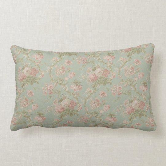 Elegant Vintage Floral Rose, Green & Pink Lumbar Pillow