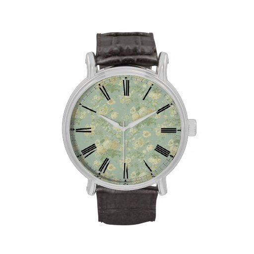 Elegant Vintage Floral Rose, Green Watches