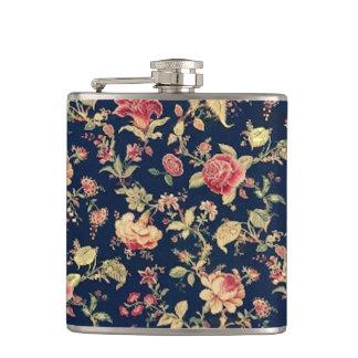 Elegant Vintage Floral Rose Hip Flask
