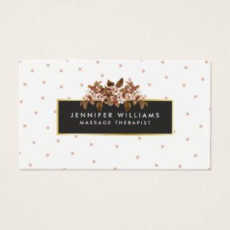 Elegant Vintage Floral with Dot Pattern Faux Gold Business Card