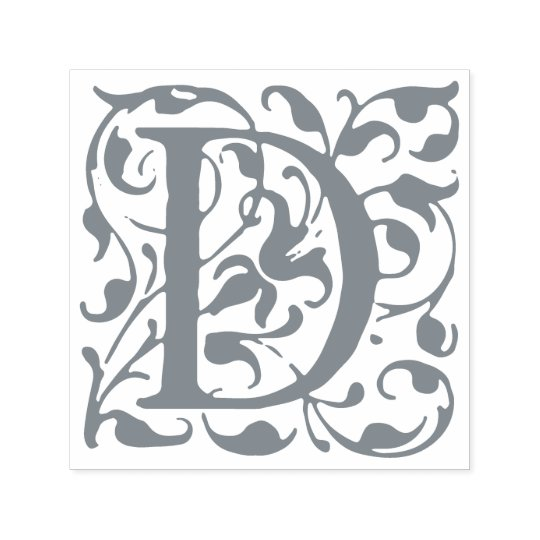 Elegant Vintage Flourish Letter D Monogram Self-inking Stamp
