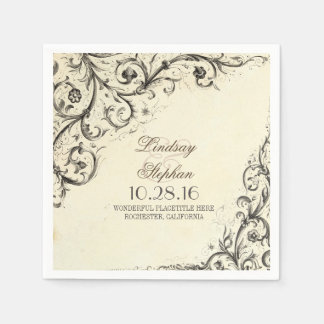 Elegant vintage flourishes wedding paper napkins