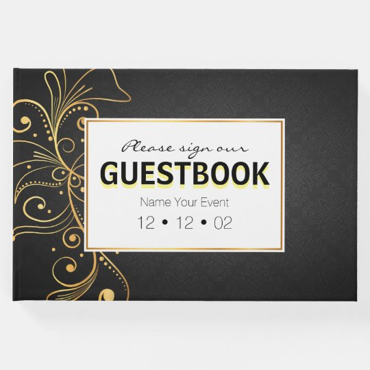 Elegant vintage formal black and golden vines guest book