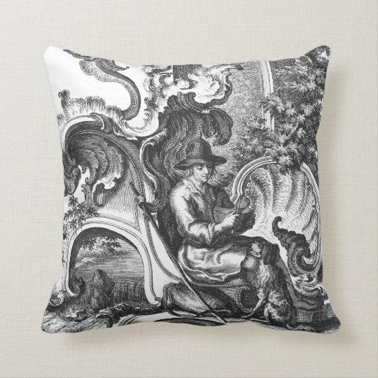 Elegant Vintage French Black and White Toile Throw Pillow