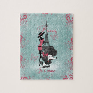 Elegant vintage French poodle girls silhouette Puzzle