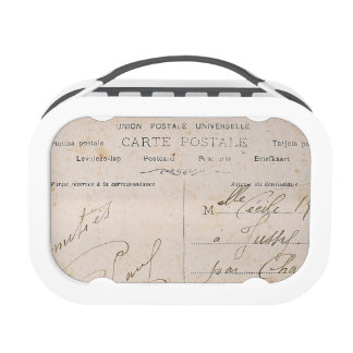 Elegant Vintage French Postcards Handwriting Lunch Box