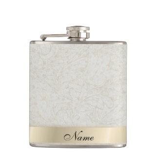 Elegant vintage gentle floral custome name hip flask