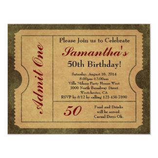 "Elegant Vintage Gold Admit One 50th Birthday/Party 4.25"" X 5.5"" Invitation Card"