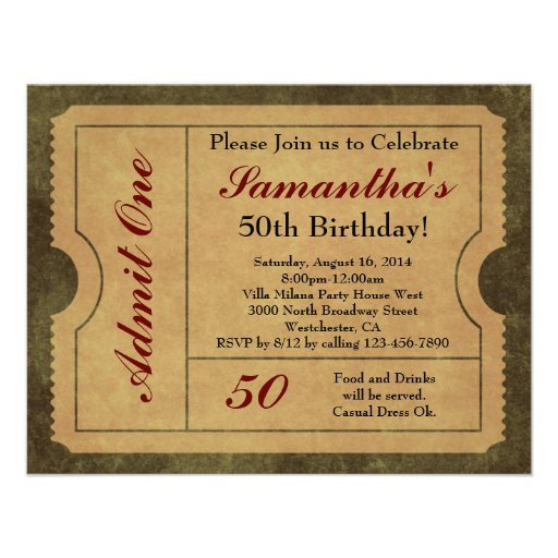 Elegant Vintage Gold Admit One 50th Birthday/Party Personalized Invite