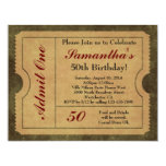 "Elegant Vintage Gold Admit One 50th Birthday/Party 4.25"" X 5.5"" Invitation Card"