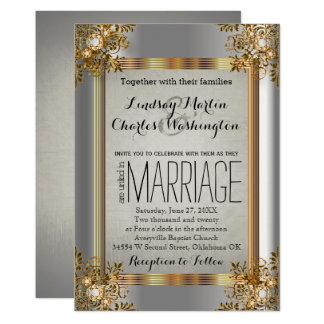 Elegant Vintage Gold and Silver Wedding Invitation