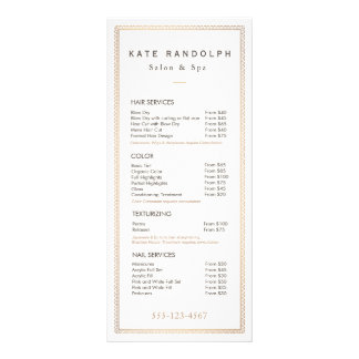 Elegant Vintage Gold Border Price List Menu