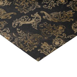 Elegant Vintage Gold Scrolls on Black Faux Marble Tissue Paper