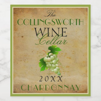 Elegant Vintage Green Grapes Custom Champagne or Wine Label