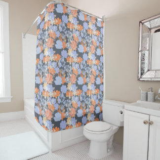Elegant vintage grey violet orange floral pattern