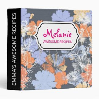 Elegant vintage grey violet orange floral pattern 3 ring binder