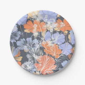 Elegant vintage grey violet orange floral pattern 7 inch paper plate