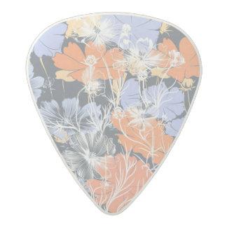 Elegant vintage grey violet orange floral pattern acetal guitar pick