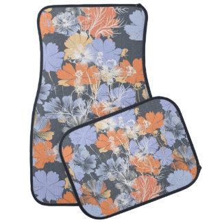 Elegant vintage grey violet orange floral pattern car mat
