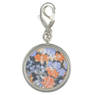 Elegant vintage grey violet orange floral pattern charms