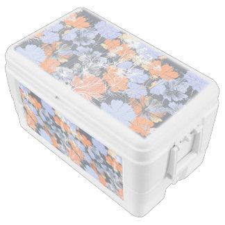 Elegant vintage grey violet orange floral pattern chest cooler