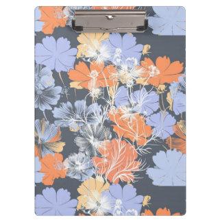 Elegant vintage grey violet orange floral pattern clipboard