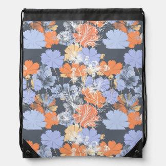 Elegant vintage grey violet orange floral pattern drawstring bag