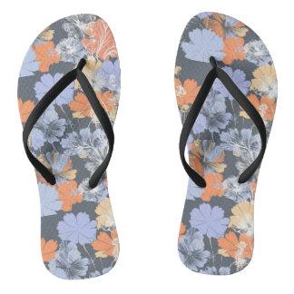Elegant vintage grey violet orange floral pattern flip flops