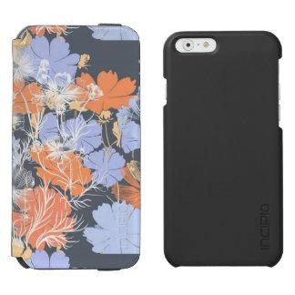 Elegant vintage grey violet orange floral pattern incipio watson™ iPhone 6 wallet case
