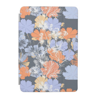 Elegant vintage grey violet orange floral pattern iPad mini cover