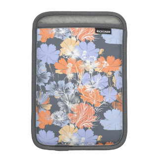 Elegant vintage grey violet orange floral pattern iPad mini sleeve