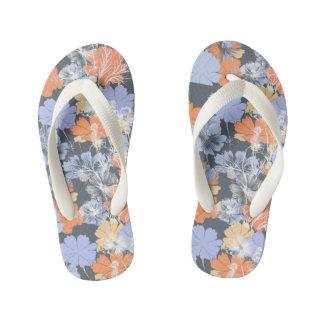 Elegant vintage grey violet orange floral pattern kid's flip flops