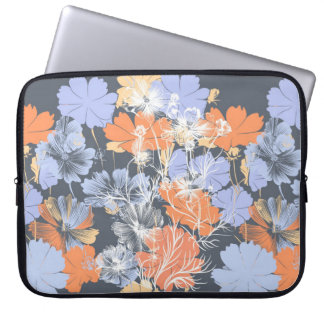 Elegant vintage grey violet orange floral pattern laptop sleeve