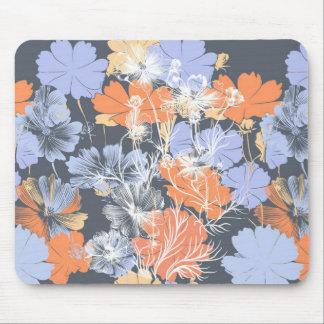 Elegant vintage grey violet orange floral pattern mouse pad