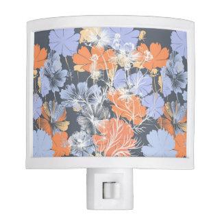 Elegant vintage grey violet orange floral pattern nite lites