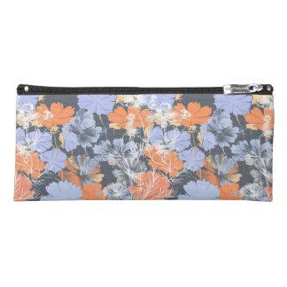 Elegant vintage grey violet orange floral pattern pencil case