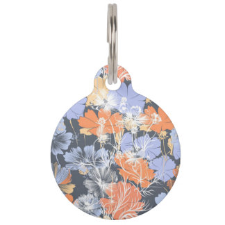Elegant vintage grey violet orange floral pattern pet tag