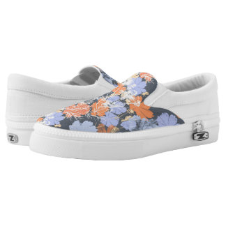 Elegant vintage grey violet orange floral pattern Slip-On sneakers
