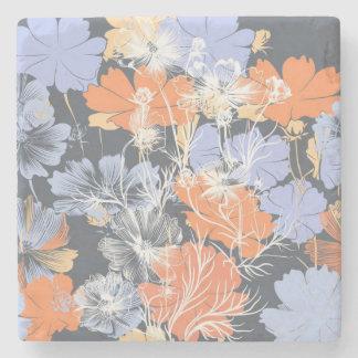 Elegant vintage grey violet orange floral pattern stone coaster