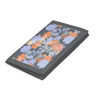 Elegant vintage grey violet orange floral pattern trifold wallet