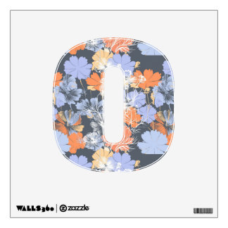 Elegant vintage grey violet orange floral pattern wall sticker