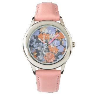Elegant vintage grey violet orange floral pattern watch