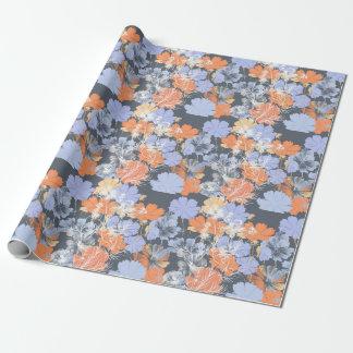 Elegant vintage grey violet orange floral pattern wrapping paper
