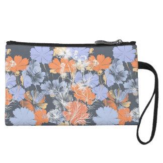 Elegant vintage grey violet orange floral pattern wristlet purse