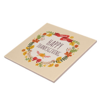 Elegant Vintage Happy Thanksgiving   Ceramic Tile