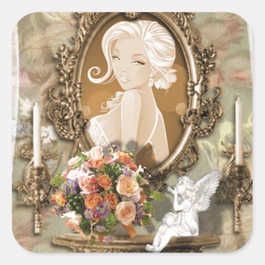 Elegant Vintage Lady design Square Sticker